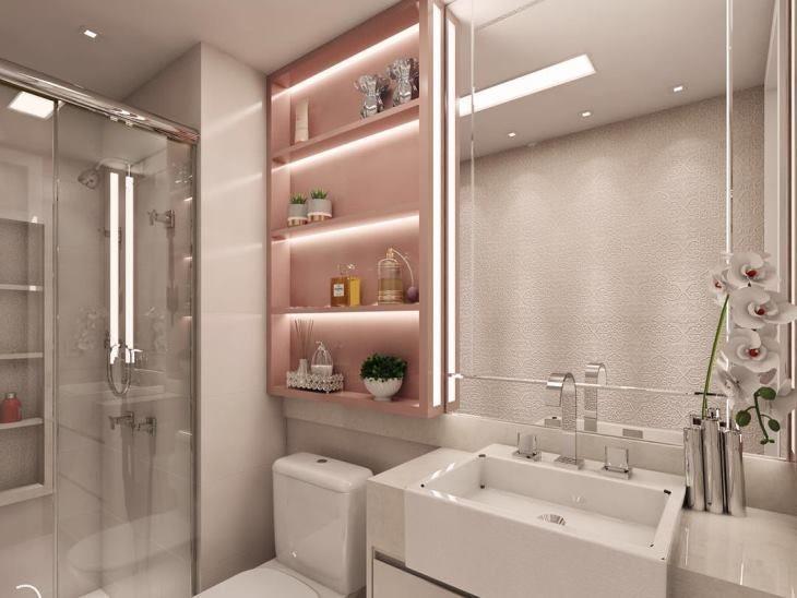 Banheiros pequenos fotos e truques para decorar com estilo -> Banheiro Com Pastilha Embaixo Do Espelho