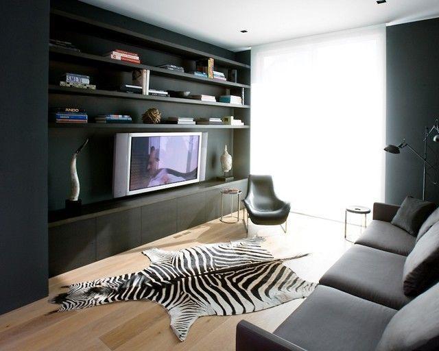 """Foto: Reprodução / <a href=""""http://www.houzz.com/photos/258631/Modern-Media-Room-contemporary-home-theater"""" target=""""_blank"""">Houzz</a>"""