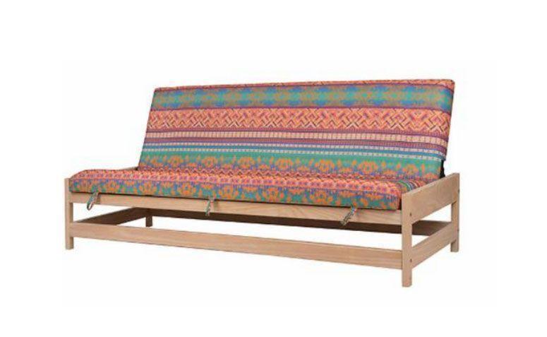 """Sofá-cama 3 lugares Container por R$ 2699,00 na <a href=""""https://www.meumoveldemadeira.com.br/moveis/sofas/sofa-cama-3-lugares-container-cru-fosco-e-tecido-colorido"""" target=""""_blank""""> Meu móvel de madeira </a>"""