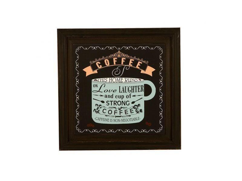 """Quadro de madeira com mensagem sobre café por R$156 na <a href=""""http://www.mariapiacasa.com.br/quadro-decorativo-de-parede-com-moldura-strong-coffee-38-884.html"""" target=""""_blank"""">Maria Pia Casa</a>"""