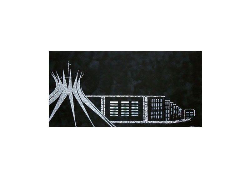 """Tela com pintura acrílica de paisagem de Brasília por R$400 na <a href=""""http://www.lojamilenarte.com.br/quadro-de-pintura-paisagem-60x120cm-0420-p323/"""" target=""""_blank"""">Loja Milenarte</a>"""
