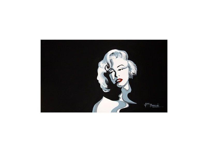 """Tela com pintura acrílica Marilyn Monroe por R$420 na <a href=""""http://www.lojamilenarte.com.br/quadro-de-pintura-marilyn-monroe-60x105cm-1589-p252/"""" target=""""_blank"""">Loja Milenarte</a>"""