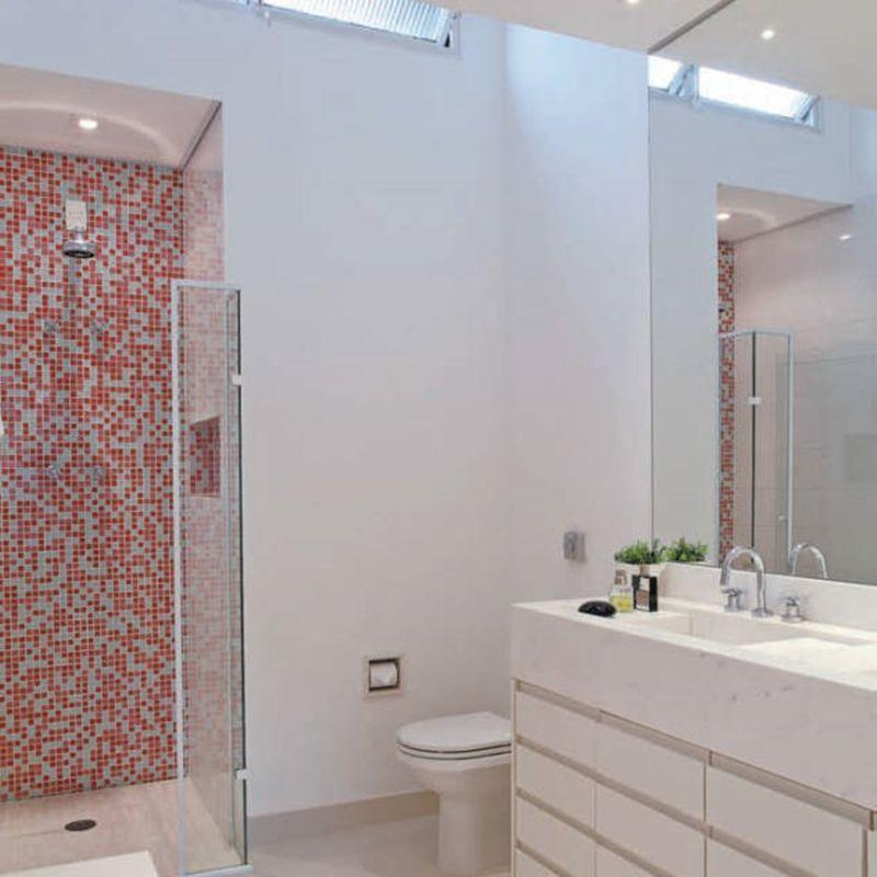83 banheiros com pastilhas fotos e como aplicar -> Banheiro Com Pastilha Bege