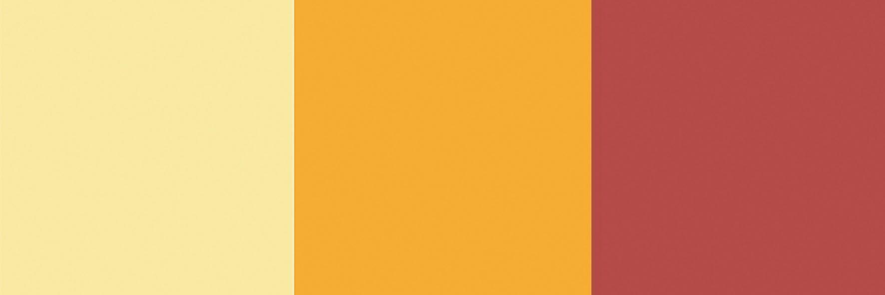 De esquerda para a direita: Suvinil Jasmim Amarelo, Coral Amarelo, Sangria Lukscolor.