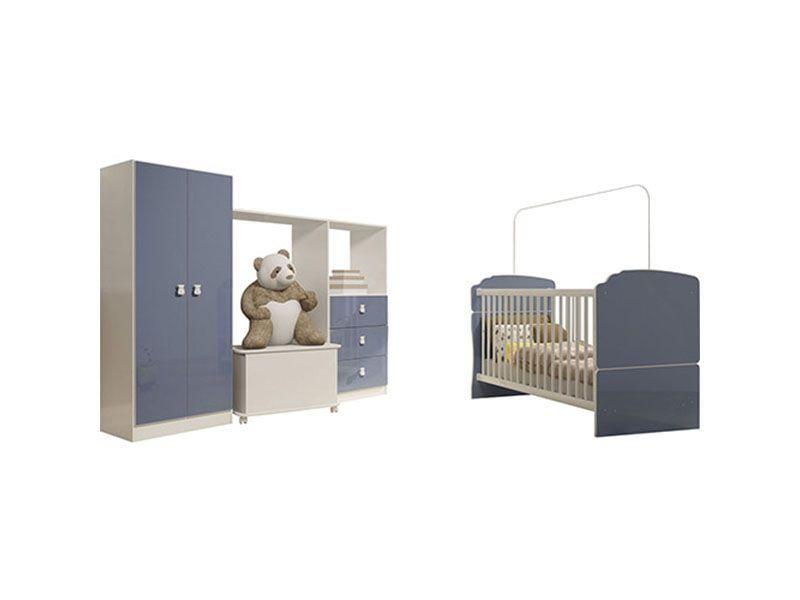 """Quarto Infantil Completo por R$ 962,90 no <a href="""" http://www.submarino.com.br/produto/116212689/quarto-infantil-completo-completa-moveis-berco-mini-cama-caixa-para-brinquedos-armario-ninar-branco-azul""""target=""""_blank"""">Submarino</a>"""