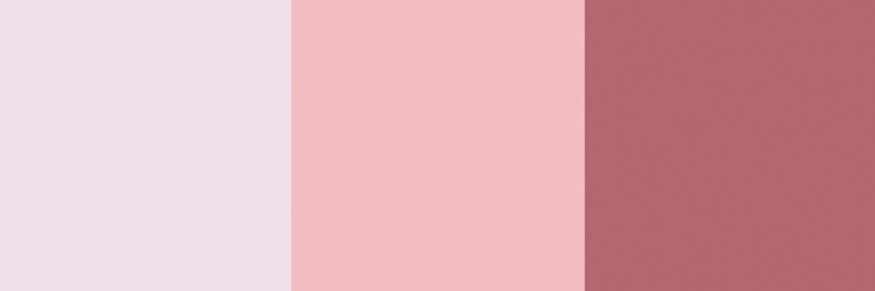 Da esquerda para a direita: Lukscolor Pale rose, Suvinil Rosa neon, Coral Rosa vermelha.
