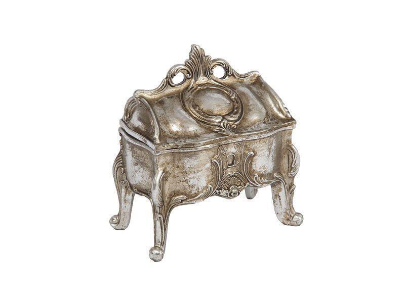 "Caixa oriental porta-joias por R$86,90 na <a href=""https://www.carrodemola.com.br/produtos/29206/caixa-pequena-oriental-prata-dourado-resina-125x12-cm"" target=""blank_"">Carro de Mola</a>"
