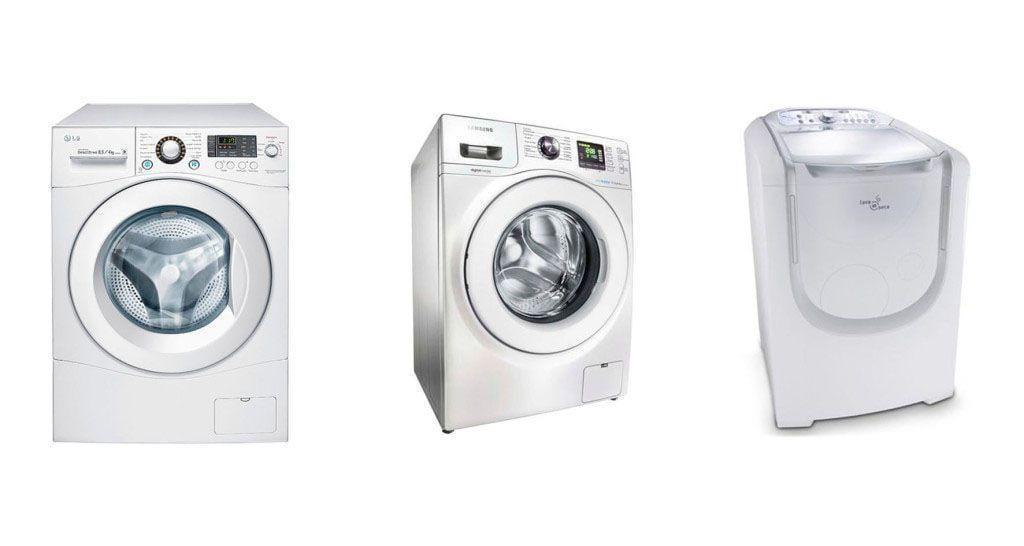 Da esquerda para a direita: LG por R$2.299,00 na Americanas; Samsung por R$2.475,00 no Ponto Frio; Eletrolux por R$3.299,00 no Fast Shop | Imagem: Tua Casa