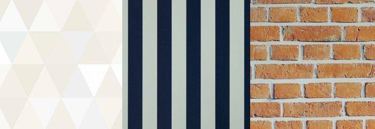 Imagem: Tua Casa - Papel de parede Geométrico Triângulos / Papel de parede Listrado Azul Marinho e Branco/ Papel de parede Tijolo Clássico Laranja