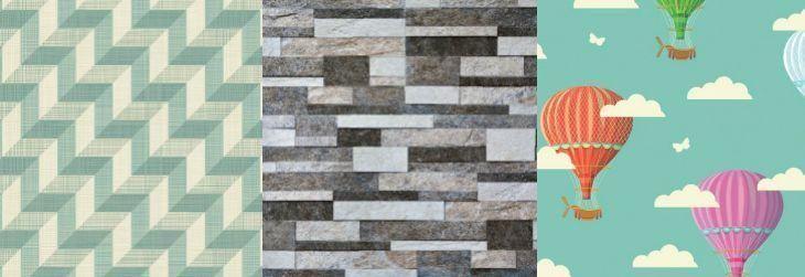 Imagem: Tua Casa - Papel de parede Geométrico Efeito Ilusão / Papel de parede Pedra Canjiquinha/ Papel de parede Balões e Nuvens