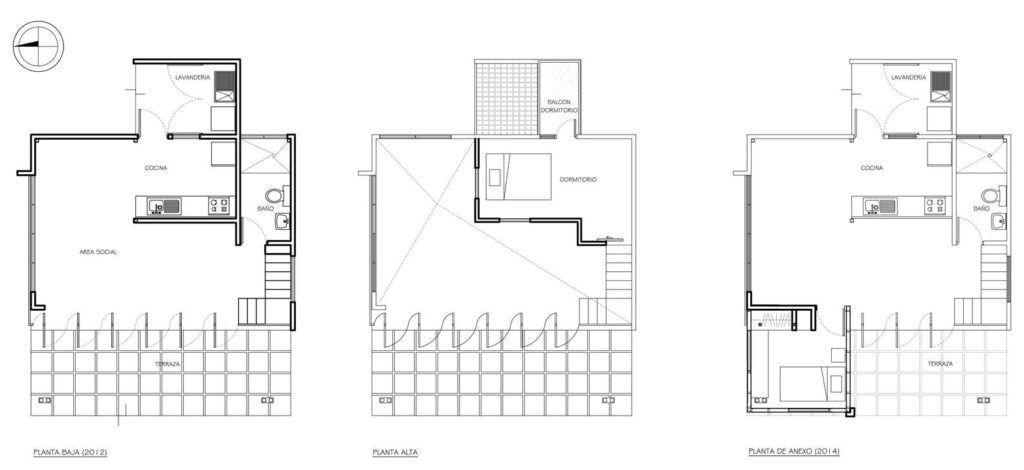 Planta baixa e planta alta da Casa MA de 50m². Foto: Reprodução / Bric Arquitectos