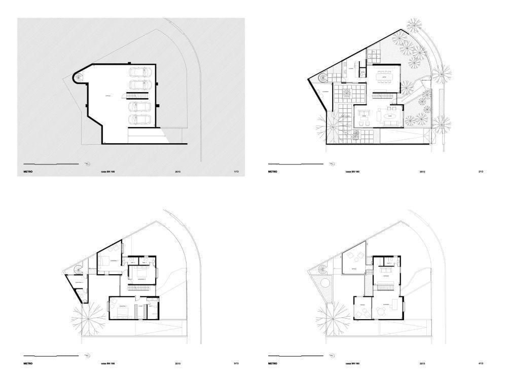 Residência Bento Noronha, com quatro andares e 438m². Foto: Reprodução / Metro Arquitetos via Archdaily