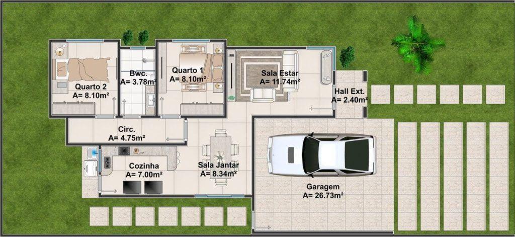 Casa Compacta, 92m². Foto: Reprodução / Projeto Pronto