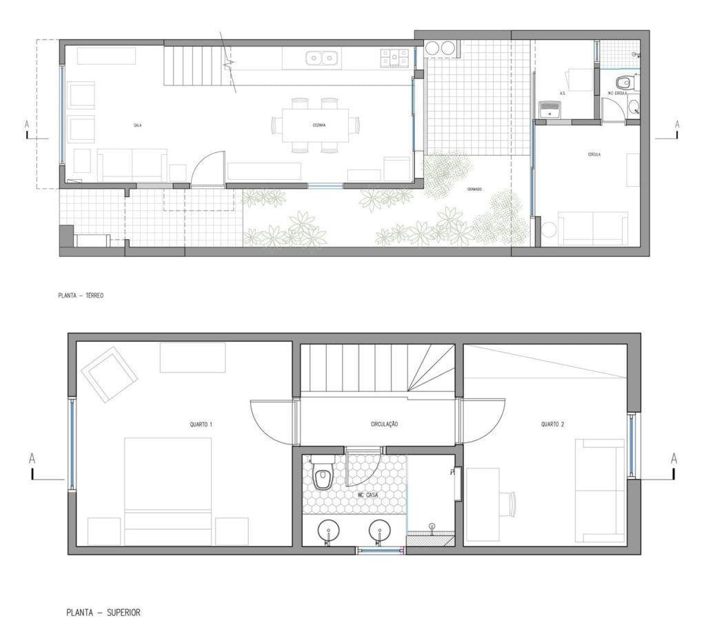 Casa de Vila Campo Belo, 110m². Foto: Reprodução / DT Estúdio via Archdaily