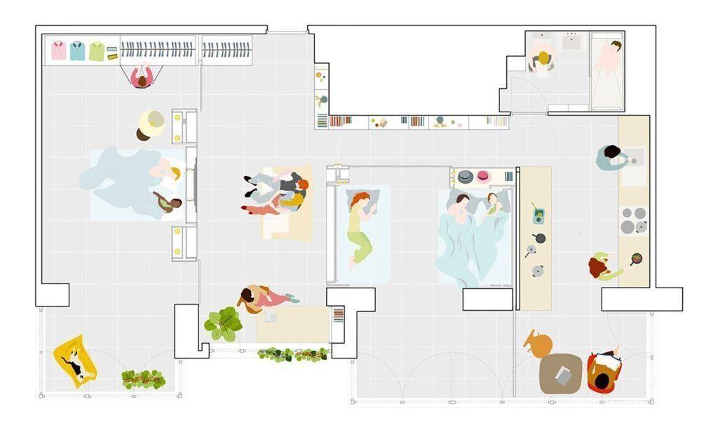 Planta Casa MJE de 70m². Foto: Reprodução / PKMN Architectures via Archdaily