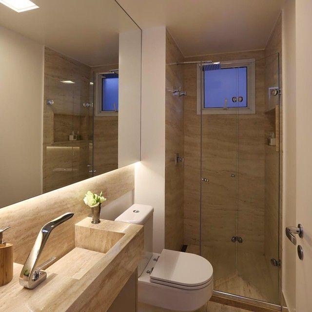 55 banheiros pequenos decorados cheios de estilo -> Banheiro Pequeno Iluminacao