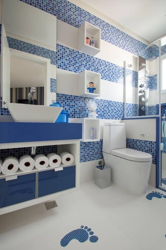 Ir Ao Banheiro Em Frances : Banheiros azuis repletos de delicadeza e charme