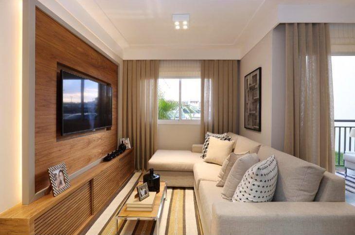 70 ideias de salas pequenas decoradas e lindas para se inspirar -> Decoração De Sala Pequena Com Rack E Painel