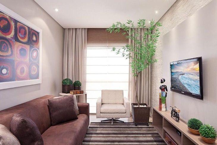 70 ideias de salas pequenas decoradas e lindas para se for Decoracion de apartamentos pequenos 2016