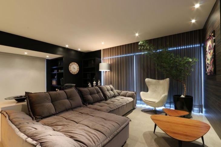 Sala cinza decorada 140 ideias apaixonantes que podemos for Azulejo para pared de sala