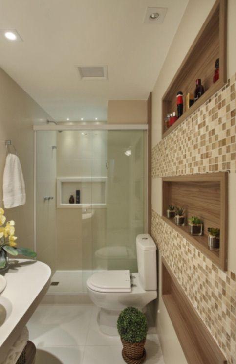 Nicho para banheiro 60 inspirações que aliam bom gosto e funcionalidade -> Nicho Banheiro Iluminado