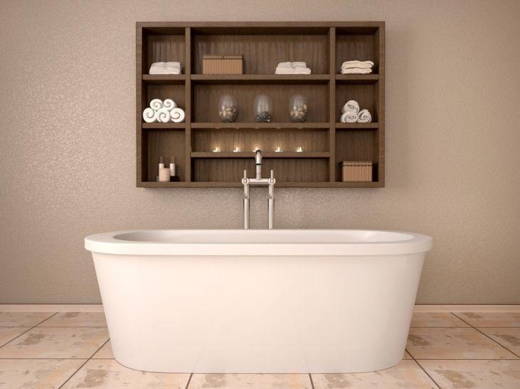 30 banheiros com cuba esculpida que você vai ficar apaixonada -> Nicho Vermelho Banheiro