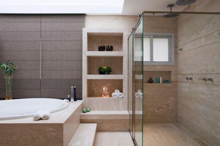 Nicho para banheiro 60 inspirações que aliam bom gosto e funcionalidade -> Nicho Redondo Banheiro