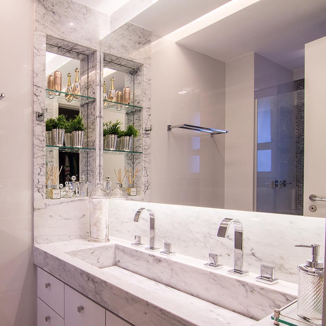 Nicho para banheiro 60 inspirações que aliam bom gosto e funcionalidade -> Nicho Retangular Banheiro