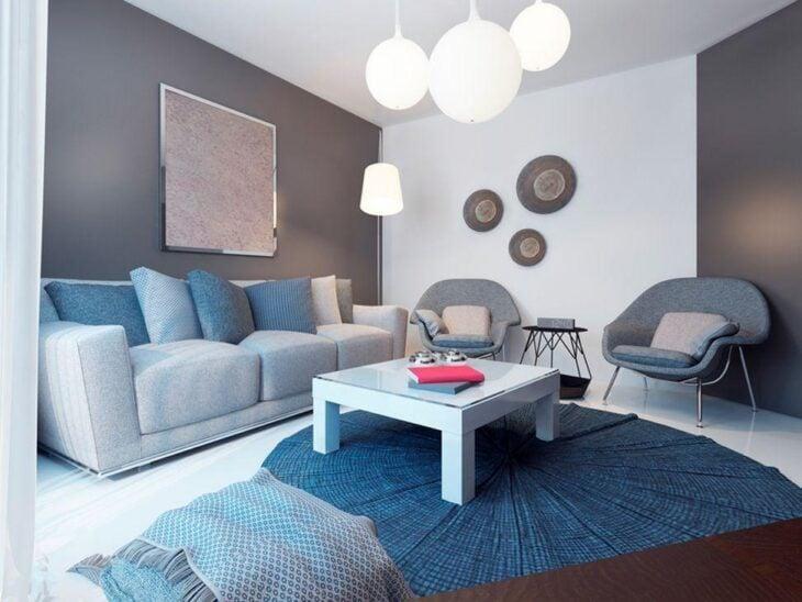 Sala azul 55 ideias para apostar no tom na decora o for Sala gris con azul