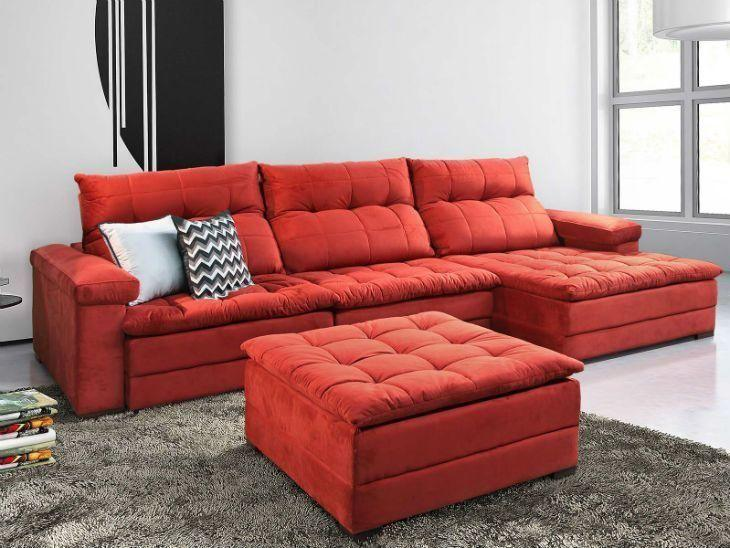 sof com chaise 65 modelos e cores para uma sala super confort vel. Black Bedroom Furniture Sets. Home Design Ideas