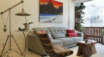 Ideia de decoração de apartamento descontraído e luxuoso