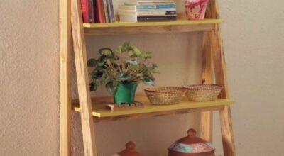Como transformar uma escada velha em uma estante estilosa