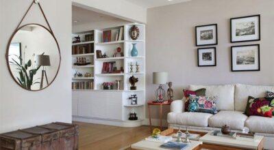 Ideia de decoração para um apartamento contemporâneo com peças de madeira