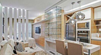Studio de 38m² que aproveita bem o espaço sem parecer pequeno e apertado