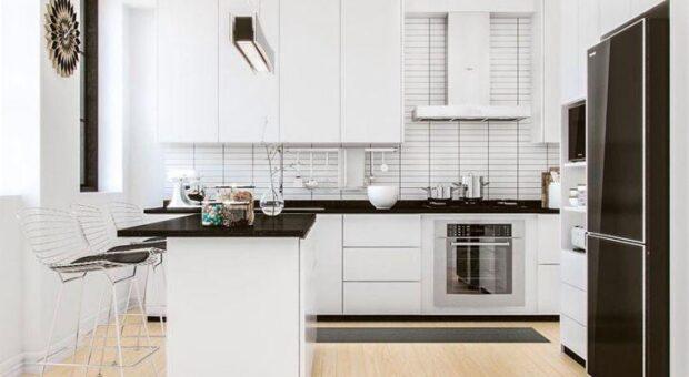 35 fotos de cozinha preta e branca, combinação clássica que agrada muita gente