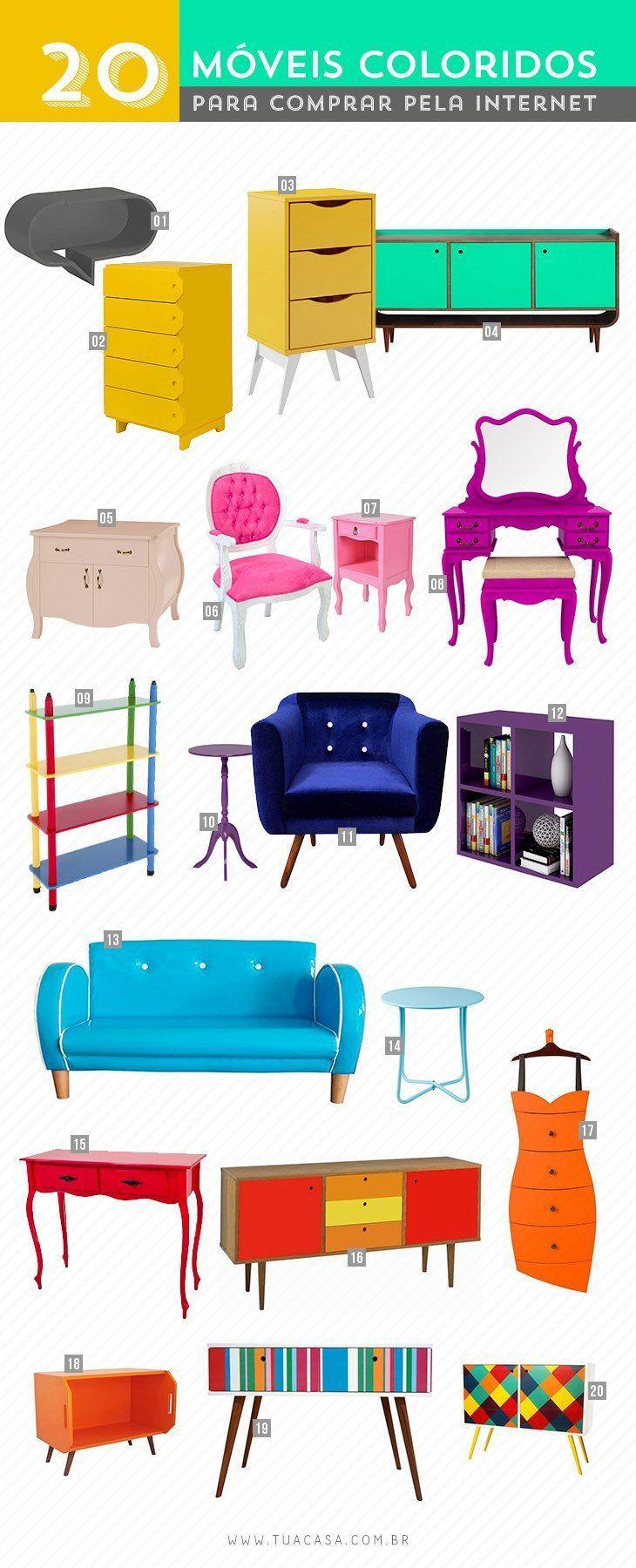 aa2895691ece Móveis coloridos: 150 ideias para decorar diversos ambientes da casa