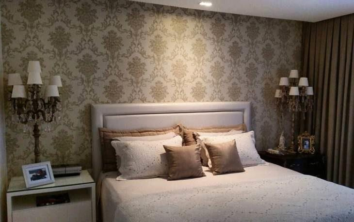70 quartos de casal com papel de parede para te inspirar a - Papel decorado para paredes ...
