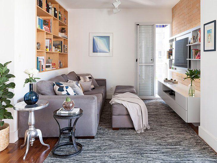 Sala de estar pequena 80 projetos funcionais elegantes e for Salas muy pequenas