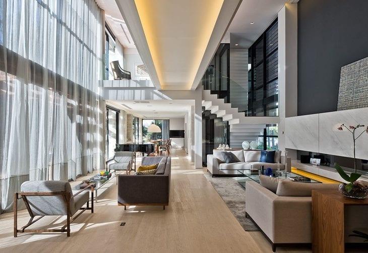 Salas modernas 50 ambientes que v o te encantar fotos for Sala design moderno