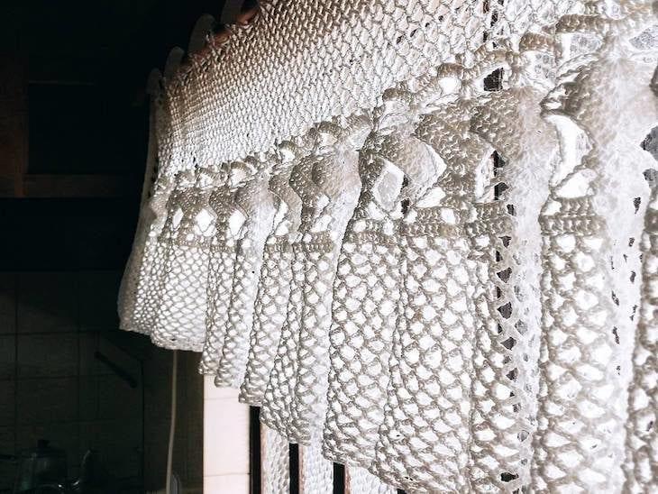 cortina De crochê branco