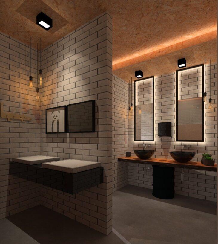 Banheiro sustentável com tijolo ecológico