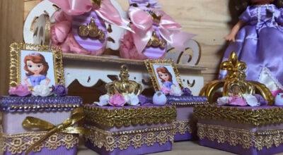 Lembrancinhas da Princesa Sofia: tutoriais e 65 ideias nobres e criativas