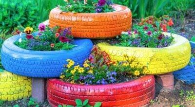 55 ideias de jardim com pneus para ter um cantinho florido e sustentável