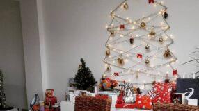 90 ideias de árvore de Natal na parede para adotar essa tendência