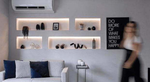 40 fotos de estante de gesso para sala para você se apaixonar