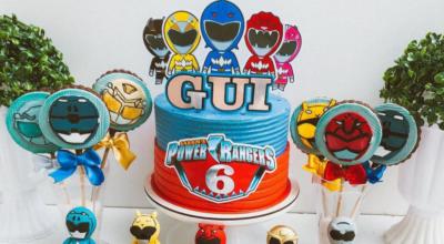 70 ideias de bolo Power Rangers para combater o mal com muito estilo