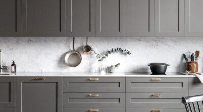 70 opções de armário de cozinha cinza para uma organização sofisticada